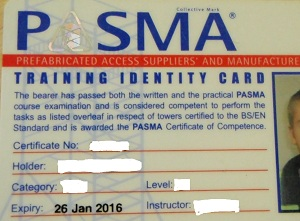PASMA Competence Card