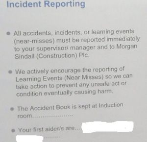 Incident Reporting Procedure, As Outlined During My Induction
